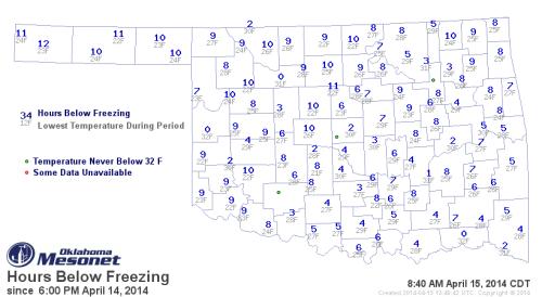 Hours below freezing on April 15, 2014