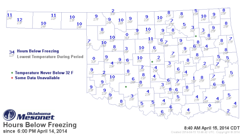 Hours below freezing on April 15, 2014